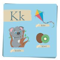 Alfabeto colorido para crianças - letra K vetor