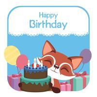 Ilustração de aniversário com fox fofo vetor
