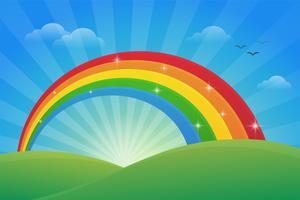Prado e a luz do céu de manhã com um lindo arco-íris. vetor