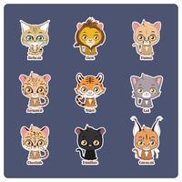 Ilustração fofa de quatro grandes felinos diferentes