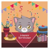 Saudação de aniversário com gato fofo vetor