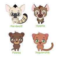 Conjunto de animais pertencentes à família Feliformia vetor