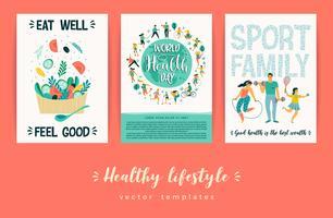 Modelos de vetor de estilo de vida saudável.