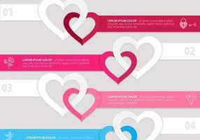 Pacote vetorial do banner de coração ligado