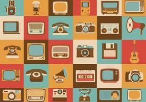 Pacote retro de ícones vetoriais de mídia vetor