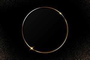 Quadro circular dourado abstrato com luz cintilante em um fundo preto moderno vetor