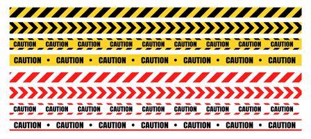 Conjuntos de fitas de advertência perigosas devem ter cuidado com a construção e o crime. vetor