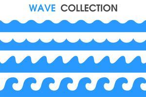Ondas do mar em um estilo simples dos desenhos animados. vetor