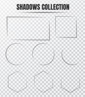 Conjunto de vetores de efeito de sombra realista Componentes separados em um fundo transparente