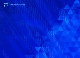 As linhas e os triângulos abstratos modelam a tecnologia no fundo azul dos inclinações.