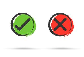 Os símbolos verdadeiro e falso aceitam rejeitados para avaliação. Vector Estilo simples e moderno.