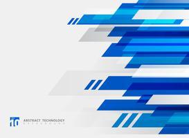 Fundo brilhante do movimento da cor azul geométrica abstrata da tecnologia. vetor