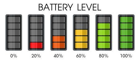 Ícone de nível de energia na bateria do smartphone. vetor