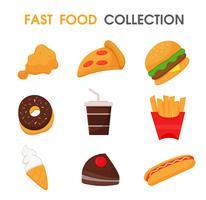 Junk food ou fast food conjunto de coleta. vetor