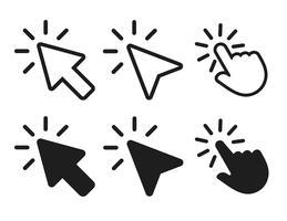 seta e mão cursor clicando no ícone. ilustração do vetor