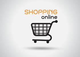 icon Carrinhos de compras em lojas de departamento Em um fundo gradiente cinza que parece moderno. vetor