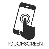 Ícone apontando na tela de toque do smartphone
