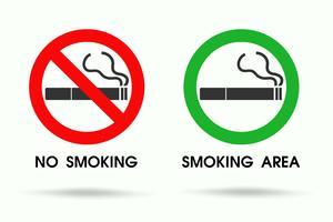 Sinais mostrando áreas para não fumadores e pontos de fumar permitidos. ícone de vetor de cigarro.