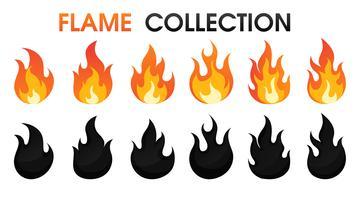 Estilo liso dos desenhos animados da coleção da chama do fogo. ilustração do vetor.