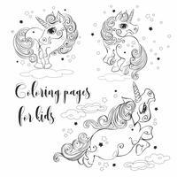Unicórnios mágicos para colorir. Para as crianças. Ilustrações vetoriais.