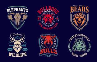 conjunto de vetores de emblemas de animais mascote