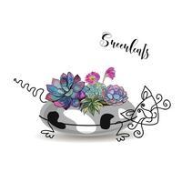 Composição decorativa de suculentas. Em um vaso de flores na forma de um gato manchado. Aquarela de gráficos. Vetor.