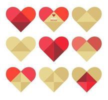 Pacote de vetores de coração dobrado