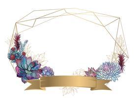 Moldura geométrica de ouro com suculentas. Convite. Vector.Watercolor Gráficos.