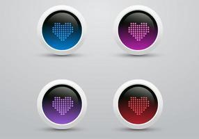 Pacote de vetores de ícones de coração de LED digital