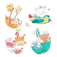 Ajuste o girafa bonito do urso do girafa dos animais dos desenhos animados beary nos umbels com as flores para a ilustração das crianças. vetor