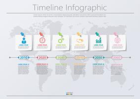 Visualization dos dados de negócio os ícones infographic do espaço temporal do pino projetaram para o molde abstrato do fundo. vetor