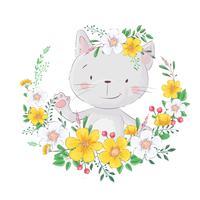 Gato bonito dos desenhos animados. No quadro de flores. Para impressões de design, cartazes e assim por diante. Vetor