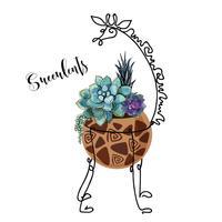Suculentas em uma panela como uma girafa. Gráficos com preenchimentos em aquarela. Arranjo de flores. Vetor.