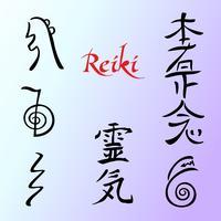 A energia Reiki. Símbolos Medicina alternativa. Vetor
