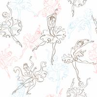 Bailarinas Padrão sem emenda Pequena princesa. Dança. Ilustração vetorial