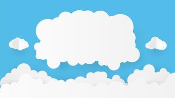 Arte de papel com a nuvem no céu azul. Copie o espaço. Bolha do discurso, suspensão em branco branco. vetor