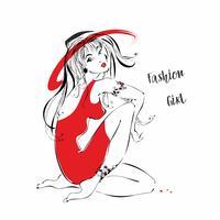 Menina da moda em um chapéu. Garota de vestido vermelho vetor. vetor
