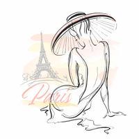 Menina elegante em um chapéu em Paris. Modelo elegante. Vetor