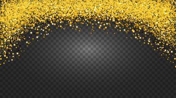 Círculo de glitter dourado com pequenas partículas. fundo abstrato com brilhos dourados no fundo transparente. vetor
