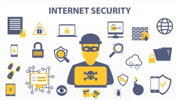 Internet Security Doodle conceito de dados on-line e soluções de proteção de rede de computadores cyber. vetor