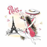 A garota do chapéu bebe café. Modelo de moda em Paris. Torre Eiffel. Composição romântica. Modelo elegante de férias. Vetor