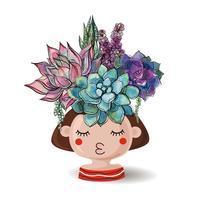 Menina com suculentas flores. Aquarela Ilustrações vetoriais.