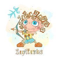 Ícone do horóscopo infantil. Zodíaco para crianças. Signo de Sagitário. Vetor. Símbolo astrológico como personagem de desenho animado.