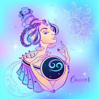 Signo do Zodíaco Menina bonita do câncer. Horóscopo. Astrologia.
