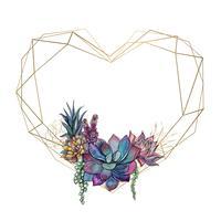 Moldura de coração de ouro com suculentas. Namorados. Watercolor.Graphics. Vetor. vetor
