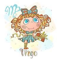 Ícone do horóscopo infantil. Zodíaco para crianças. Sinal de virgem. Vetor. Símbolo astrológico como personagem de desenho animado.