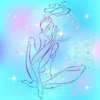 Meditação. Garota meditando. Energia Reiki. Cura. Esoterista. Vetor