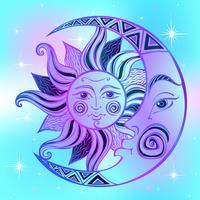 A lua e o sol. Símbolo astrológico antigo. Gravação. Estilo Boho. Étnico. O símbolo do zodíaco. Místico. Vetor.