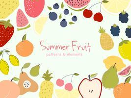 Coquetéis de cor de verão vetor. Imagem de vetor de folhas de palmeira de bandeira de frutas de verão.