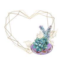 Moldura de ouro em forma de um coração com um buquê de suculentas. vetor